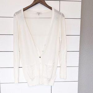Madewell White Cotton Light Knit Cardigan Small